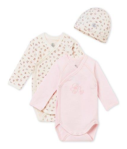(Petit Bateau New Baby Gift Bonnet + 2 Bodies_4457399, Body para Bebés, 62 cm 3m/60cm- 2 Pack (3MONTH))