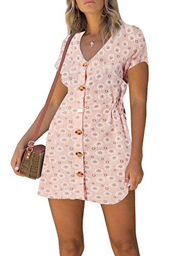 Adicreat Women Summer Print V Neck Cotton Short Sleeve Tunic Dress Button Down Swing Midi Dress