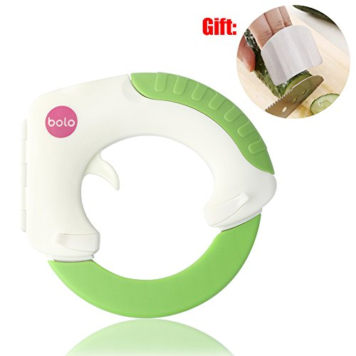 BOLO The Rolling Knife, Innovative Design of The Kitchen Circular Knife,Sharp Blade Cutting Vegetables, Meat, Cake So Easy, Can Well Protect Your Wrist -Gift: Hand Protection Appliance