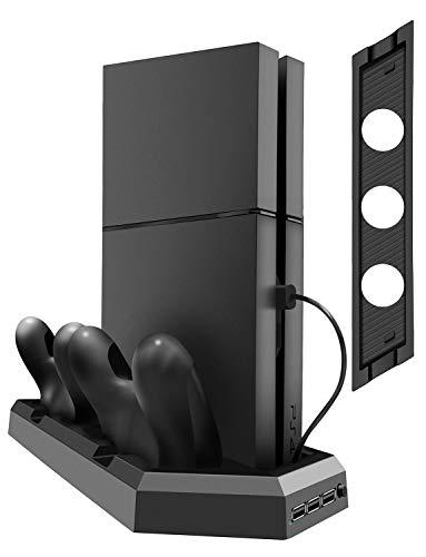 Kootek Vertical Stand for PS4 Slim/Pro/Regular Playstation 4, Controller Charging Station with Cooling Fan Dual Charger Indicator USB Ports for DualShock 4 Wireless Controllers from Kootek