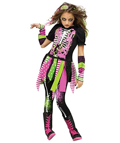 Fun World Big Girl's Large/neon Zombie Chld Cstm Childrens Costume, multi/color, Large (12-14)
