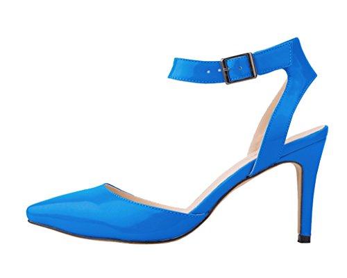 sandalia tobillo dedo pu mujeres boda del correa pie vestido del de tacón banquete acentuado las del alto elegante de Elegante de del oscuro azul patente nxfSYRn8