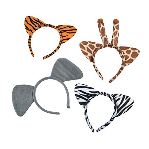 Set of 12(3 of each) Plush Zoo Animal Jungle Headbands w Ears Zebra Giraffe Elephant Tiger -