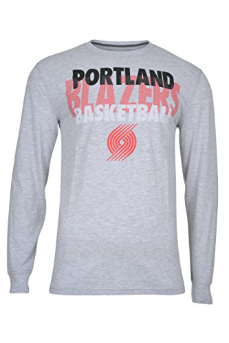 fan products of NBA Men's Portland Trail Blazers T-Shirt Supreme Long Sleeve Pullover Tee Shirt, Large, Gray