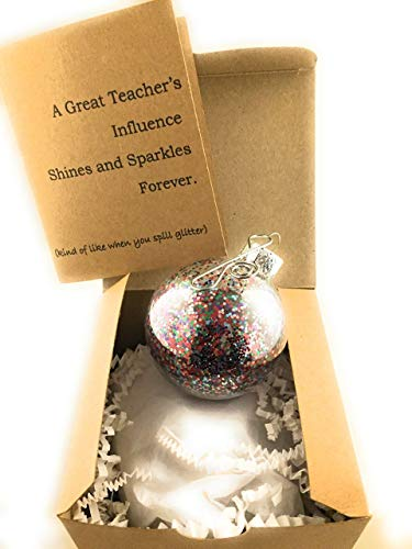 Teachers Gift Christmas Glitter Ornament and Thank You Teachers Influence Card Gift Boxed by Dorinta