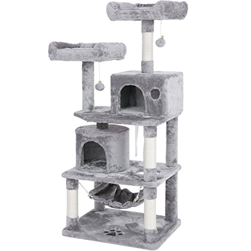 BEWISHOME Cat Tree Condo Furniture Kitten Activity Tower Pet Kitty Play House with Scratching Posts Perches Hammock Light Grey MMJ01G