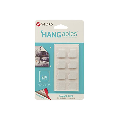 VELCRO Brand - HANGables - Removable Wall Fasteners, Squares - 8 Ct