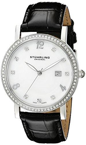 Stuhrling Original Women's 919.01 Classic Lorraine Analog Display Swiss Quartz Date Black Watch