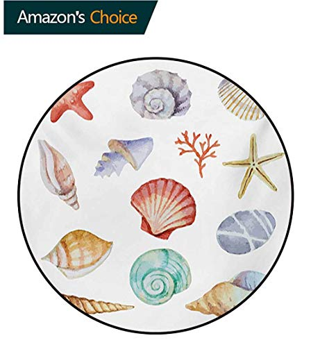 RUGSMAT Nautical Modern Flannel Microfiber Round Area Rug,Collection of Different Type Seashells Scallop Mollusk Summer Exotic Creatures Animals Living Room Bedroom Study Soft Carpet,Round-71 Inch