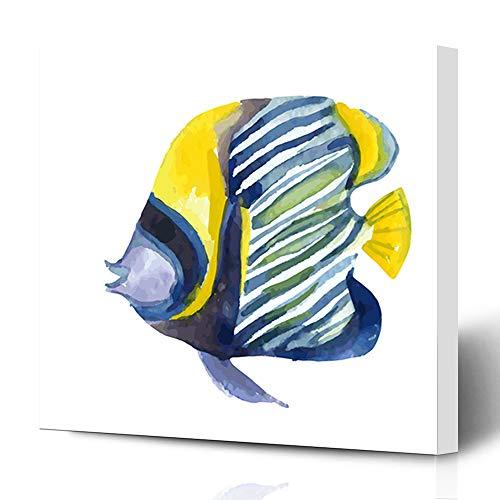 (Ahawoso Canvas Prints Wall Art 16x16 Inches Reef Blue Marine Angelfish Fish Watercolor Raster Indian Red Alive Alone Angel Aquarium Aquatic Design Decor for Living Room Office)