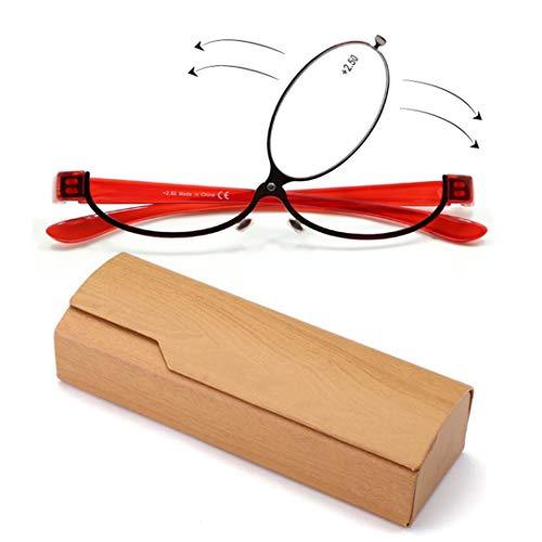 (Women Magnifying Makeup Reading Eye Glasses Flip Down Lens Spectacles Folding Cosmetic Glasses)