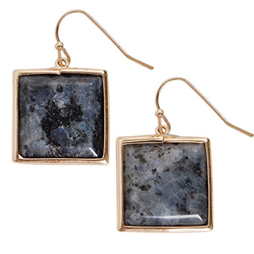 Semi Bezel Solitaire Setting - Humble Chic Created Gemstone Dangles - Square Statement Dangling Gold-Tone Drop Earrings for Women, Square Created Labradorite, Grey, Blue, Green, Brown, Gold-Tone