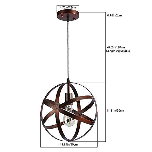 Vintage Industrial Spherical Pendant Light Metal Globe Ball Chandelier Retro Cage Ceiling Light Hanging Light Fixture for Living Room Dining Room Hallway