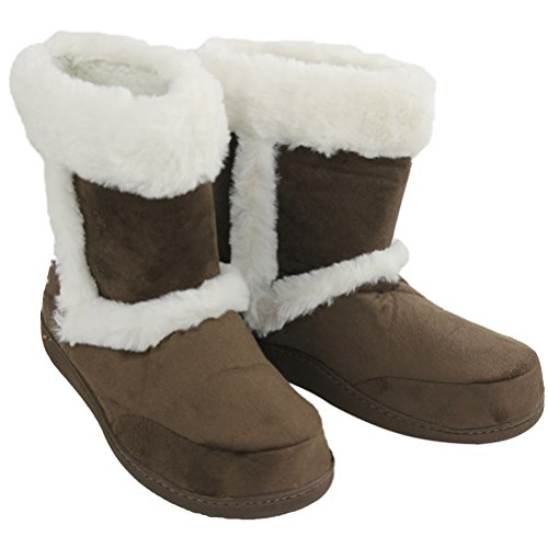 Suede Women's Slipper Top Gohom Boots High Indoor SandyBrown dOwqzzYpn