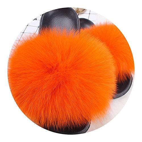 Fox Fur Slides Summer Beach Fluffy Slippers 100% Raccoon Fur Flip Flops Sandals Shoes,Orange,8.5