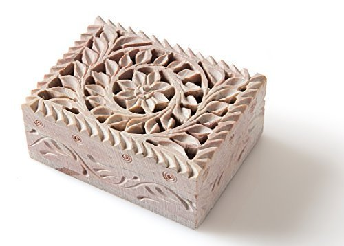 StarZebra - Handmade Cute Jewelry Box for Girls with Fine Detail of Jaali Lattice Work From - Stone Box Trinket
