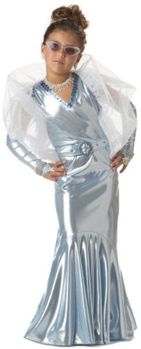 Silver Screen Starlet Child Costume - Dress, Wrap, Belt and Gloves - (Silver Screen Fancy Dress Costumes)