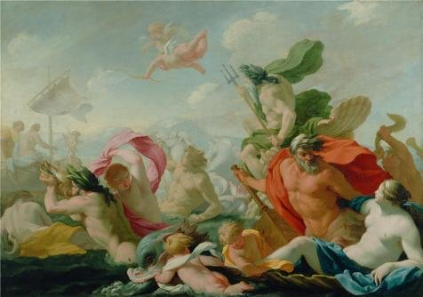 Oil Painting 'French Marine Gods Paying Homage To Love, C 1638 By Eustache Le Sueur' 18 x 26 inch / 46 x 65 cm , on High Definition HD canvas prints, gifts for Bed Room, Garage And Home Theate decor (Spring Step Allegra)