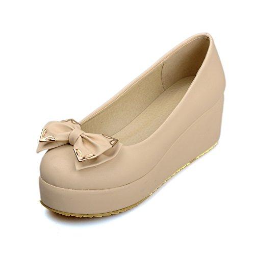 Damen Weiches Material Ziehen auf Rund Zehe Mittler Absatz Rein Pumps Schuhe, Weiß, 34 AllhqFashion