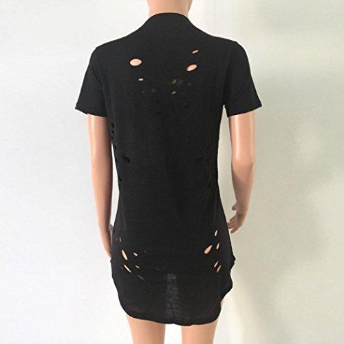 Rcool - Camiseta para Mujeres - Moda V-cuello corto manga agujeros camisa blusa informal Tops T-shirt Características del artículo Negro