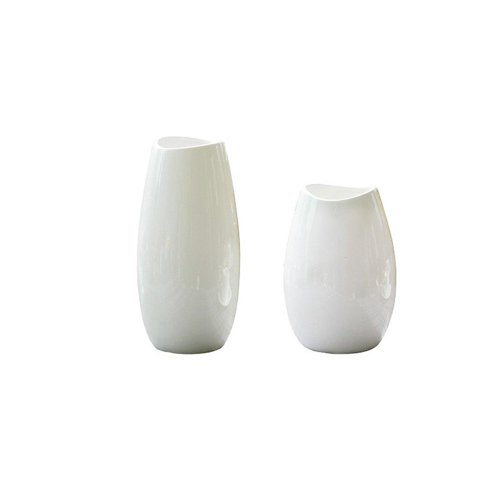 GAOLILI セラミックモダニズム白い花瓶トランペットリビングルームフラワーアレンジメントテーブルデコレーション (Size : C) B07BMZ7YP7  C