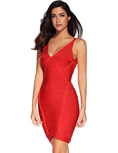 Vestido Estilo Elegante Moda Especial De v Noche Bodycon Para Sin Fiesta Mangas Paquete Red V En Cadera Mujer Vestidos Cuello Cóctel rr0Yax