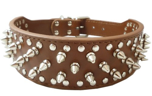 17″-20″ Brown Leather Spiked Studded Dog Collar 2″ Wide, 31 Spikes 52 Studs, Pit Bull, Boxer, My Pet Supplies
