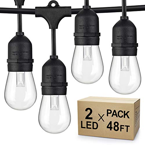 2-Pack Dimmable LED Outdoor String Lights, 48FT Shatterproof Patio Lights, Linkable Hanging Lights with Vintage Edison…