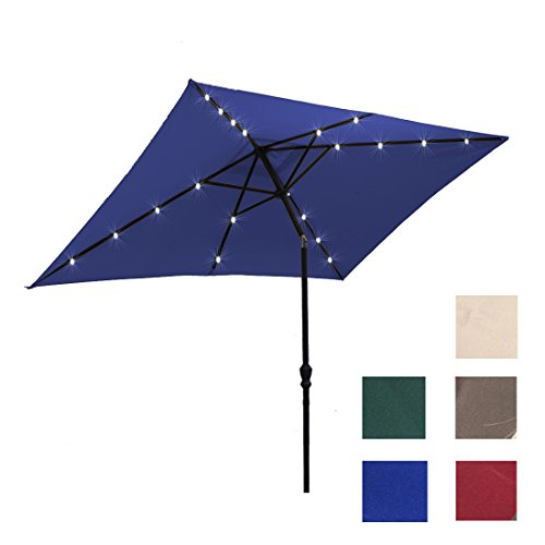 Kosycosy 6.6X10 ft ft LED Lighted Patio Umbrella Ultra Bright LED Solar Power Table Market Umbrella, with Tilt Adjustment & Crank Lift System, Perfect for Outdoors