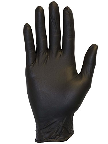 The Safety Zone Nitrile Gloves Black or Blue Powder Free (100pack) (Large, black) by The Safety Zone