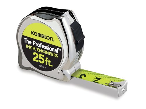 Komelon 425IEHV High-Visibility Professional Tape Measure Bother Inch and Engineer Scale Printed 25-Feet by 1-Inch, Chrome Professional 25' Tape Measure