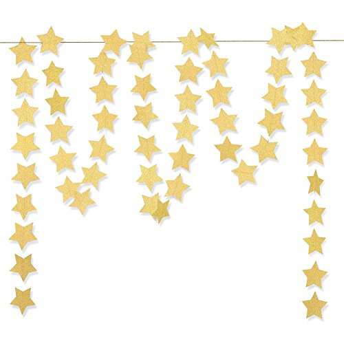 Koker Sparkling Star Garland, Paper Hanging String Banner Decoration for Wedding, Birthday Party Baby Shower Backdrop, Glitter Gold, 11.5 Feet/3.5 - String Hanging Decorations