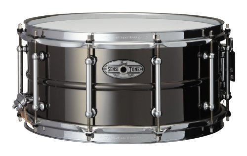 Pearl STA1465BR 14 x 6.5 Inches Sensitone Snare Drum - Beaded Black Nickel over (Beaded Brass Snare)