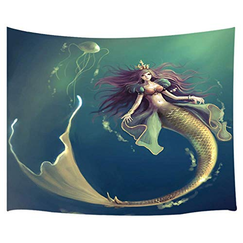 WSHINE Mermaid Tapestry, Fairy Tales Ocean Animals Girl with Scaly Tail at Mystic Underwater World Tapestry Wall Hanging for Wall Art for Children Kids' Room Decor Wall Blanket Curtains ()