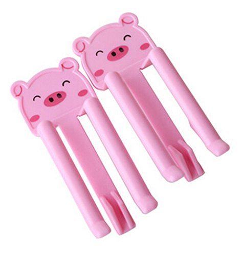 PANDA SUPERSTORE Set of 10 Home Office Plastic Garbage Rubbish Trash Can Bag Clip Pink ()
