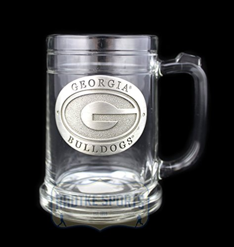 - Georgia Bulldogs NCAA Glass Stein - Pewter Emblem