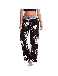 Women's Comfy Stretchy Pajama Pants Wide Leg Print Palazzo Lounge Pants Drawstring