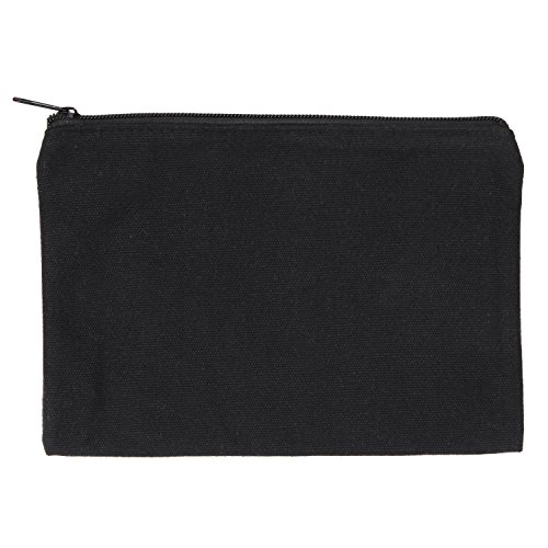 Black Canvas Zipper Pouch, Multi Use Zip Pouches for Men and Women, Guys Zipped Grooming Supplies Travel Organization, Gym Bag Organization Bag, Holds 50 Pencil, Keys, Make Up, Toiletries, Cell Phone