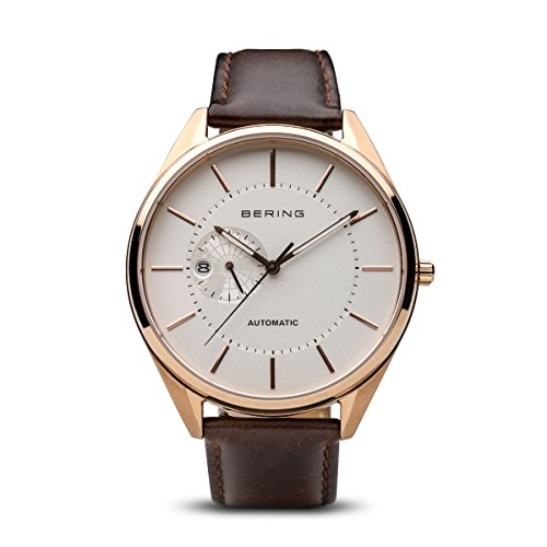BERING Time 16243-564 Men Automatic Collection Watch with Calfskin Strap and scratch resistent sapphire crystal. Designed in Denmark