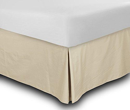 Utopia Bedding Cotton Sateen Bed-Skirt (Queen, Beige) - 100% Finest Quality Long Staple Fiber - Durable, Comfortable and Abrasion Resistant, Quadruple Pleated, Cotton Blended Platform