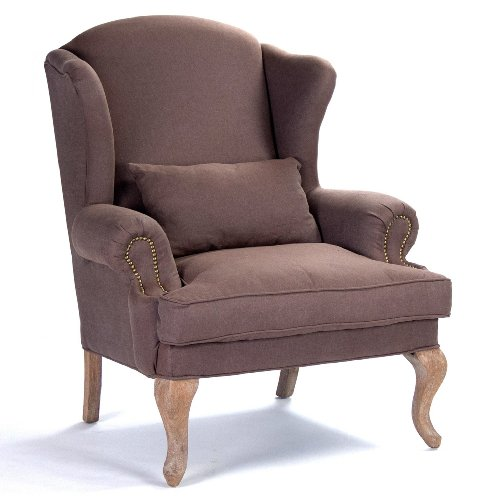 Kathy Kuo Home Zacharie French Country Nail Head Brown Wing Chair