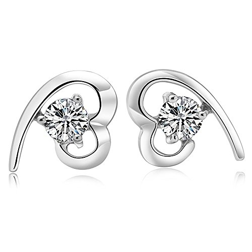 Casoty Jewelry 14K Gold Plated 925 Silver Steel Heart Lady Girls Stud Earring