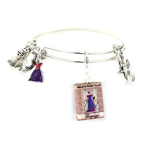RAPUNZEL Fairy Tale Princess Brothers Grimm Clay Mini Book Expandable Bangle Bracelet by Book Beads SALE for $<!--$32.00-->