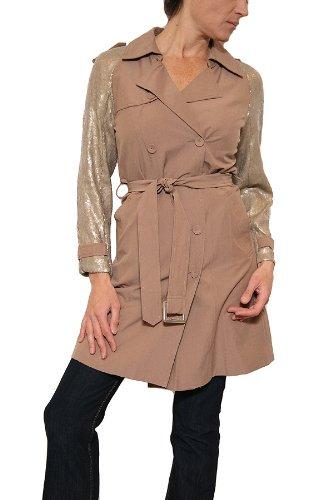 Women's 71 Stanton Sequin Sleeve Trench Coat in Khaki