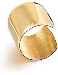 High Polished Stainless Steel Smooth Wide Cuff Bangle Bracelet for Women, Gold, Rose Gold and Silver Available