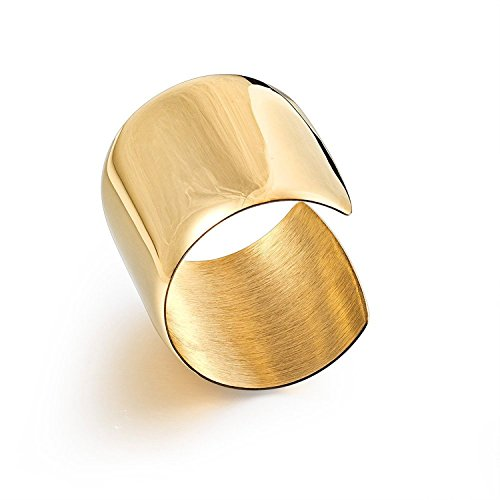 Carfeny High Polished Stainless Steel Smooth Wide Cuff Bangle Bracelet for Women (Gold)