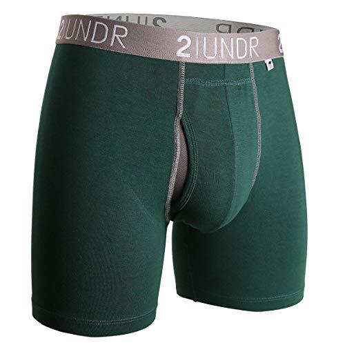2UNDR Men's Swing Shift Boxer Brief, Dark Green, Medium