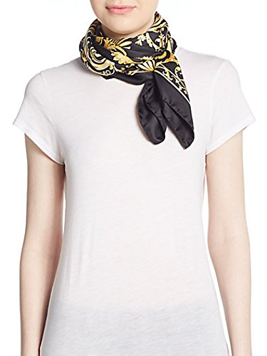 By Versace Inspired (Versace Baroque-inspired Medallion Print Silk Scarf 35x35 in 90x90)