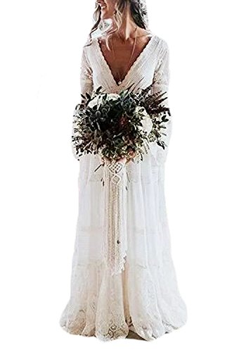 Ruffle V-neck Court Train - LISA.MOON Women's V Neck Lace Beach Bohemian Wedding Bridal Dresses with Long Sleeve White US8