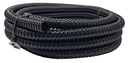 """Sealproof 3/4"""" Dia Corrugated Pond Tubing 3/4-Inch ID, 20 FT Long, Black Kink Free Strong and Flexible Made in USA PVC Tubing"""